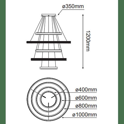 Q48175-GD Lámpara Olympia D1000*H1200 LED 160W 3000K