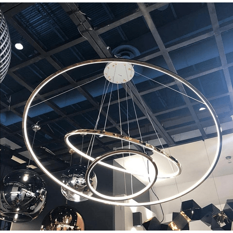 Q24483-CH Kreis Pendant D1200*H1800 LED150W 3 luces Cromo