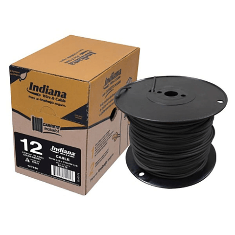 SLY308 CABLE THW-LS CAL 12 90°C 600V ROLLO 100M NEGRO INDIANA