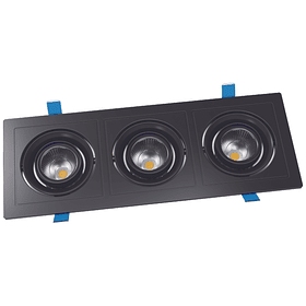 6-12654-07/WW EMPOTRABLE A TECHO LED APOLO 3X9W 1,800LM 24°AP NEGRO BLANCO CÁLIDO