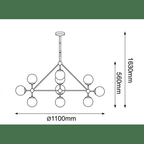 Miro Colgante Q16081-GD D1100*H560 E26 127V 10*40W