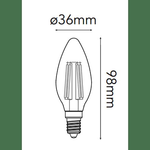 35-2703-WW Foco C35 (Tipo Vela) E12, 4W, 400lm, Ra>80, LED Sapphire, 2700K