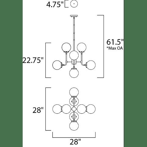 Atom 8-Luces Colgante Decorativa 24725WTBKPN Opalia Acab. Negro Níquel