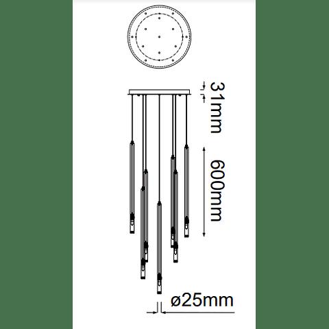 Minha Colgante Q30013-GD D420*H4000 G9*13 luces Oro