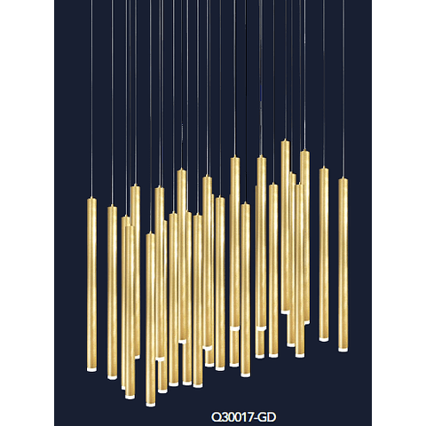 Q30017-GD Minha Colgante D420*H4000 G9*27 luces Oro
