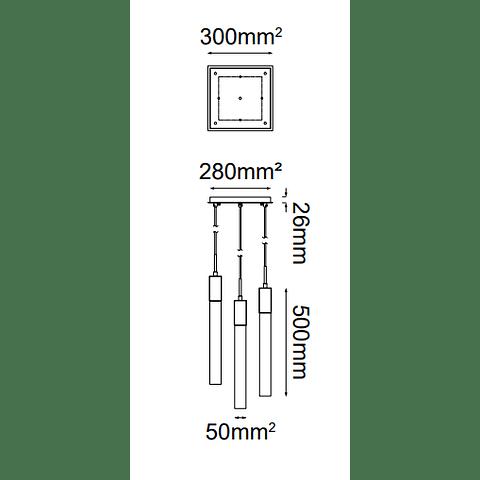 Soho Colgante Q33025-BG L300*W300*H4000 5*GU10