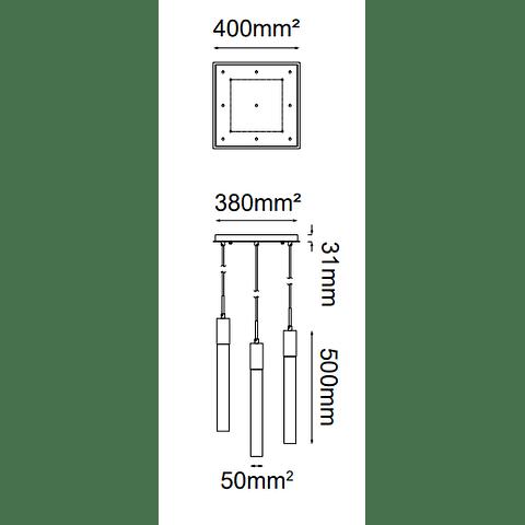 Soho Colgante Q33029-BG L400*W400*H4000 9*GU10