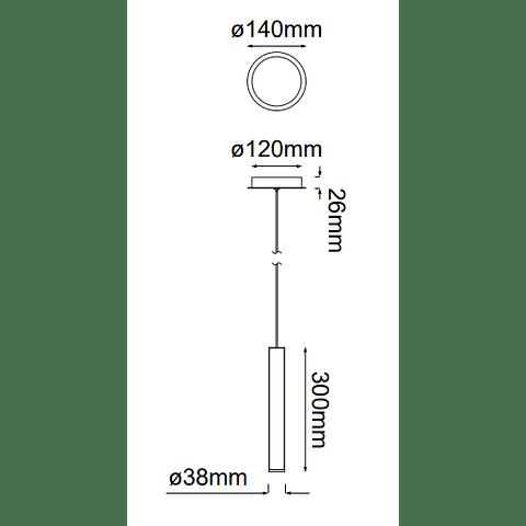 Minha Colgante Q30251-BC D38*H300 1*G9 Negro Cromo