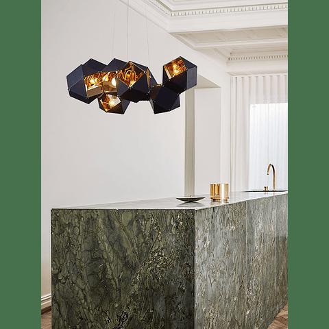 Lámpara Decorativa CUBE Q63505-BL 8 Luces ACAB. Negro+oro