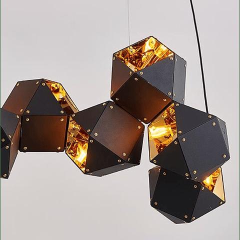 Lámpara Decorativa CUBE Q63610-BL 10 Luces Acab. Negro & Oro