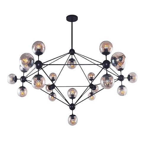 Q16083-BK Lámpara Miro E26 127V 21*40W Acab. Negro Cristal Ámbar