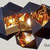 Lámpara Decorativa CUBE Q63606-BL 12 Luces Acab. Negro y Oro