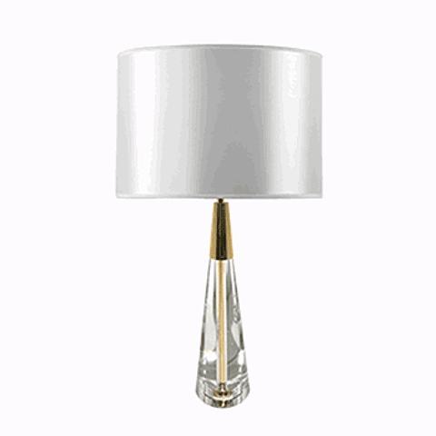Lámpara de mesa clásica 3LMAT01 E26 Vidrio y Tela Acab. Blanco