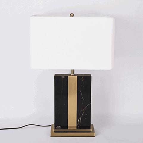 Lámpara de mesa clásica 3LMDI18 E26 Metal y Marmol Acab. Blanco
