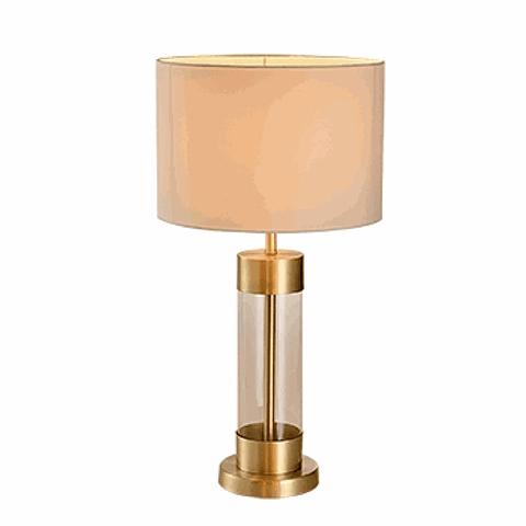 Lámpara de mesa clásica 3LMTP436 E26 Vidrio y Tela Acab. Satinado