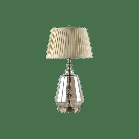 Lámpara de mesa clásica 3LMZM24 E26 Vidrio y Tela Acab. Dorado