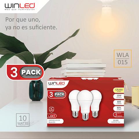 WLA-015 FOCO LÁMPARA 3 PACK LED BULBO E26 10W BLANCO CÁLIDO