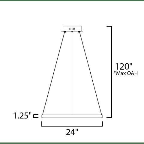E22724-GD Lámpara Groove 27W CRI 90 Aluminio y Acrílico