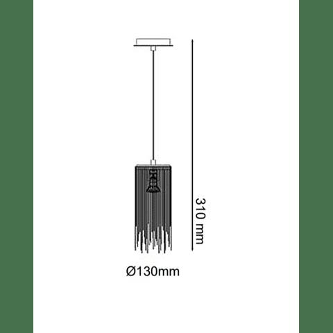 ADELE Colgante Q17161-NI  Decorativa 1 luz cadena planchada Acab. Níquel