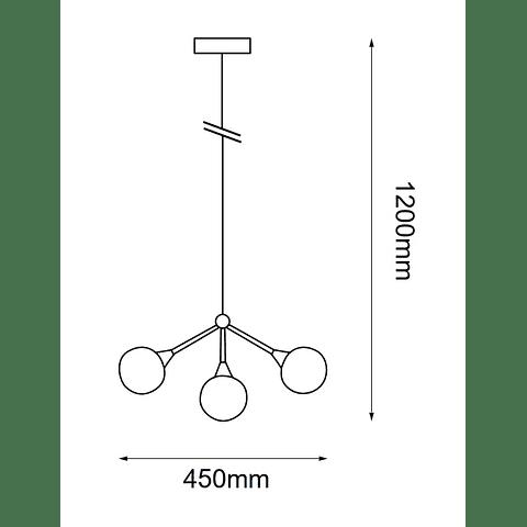 Q16503-BK Lámpara Branche 3 luces Led Acab. Negro Mate