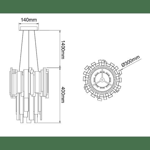 DANAE Q11604-GD PENDANT GOLD & CRYSTALS