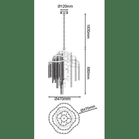 Lámpara decorativa DESIRÉE Q58505-GD Vintage 7 Luces Cristal