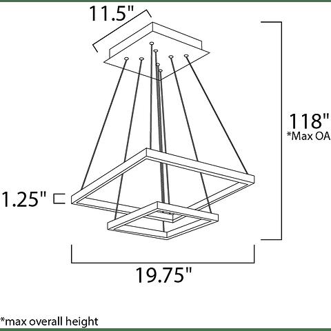 E22405-BZ Lámpara QUAD 2 Luces LED  Aluminio y Acero