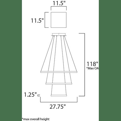 E22407-BZ Lámpara QUAD LED 3 luces Acab. Bronce