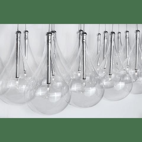E20116-18 Lámpara Larmes 9-Luces Acab. Cromo y Cristal