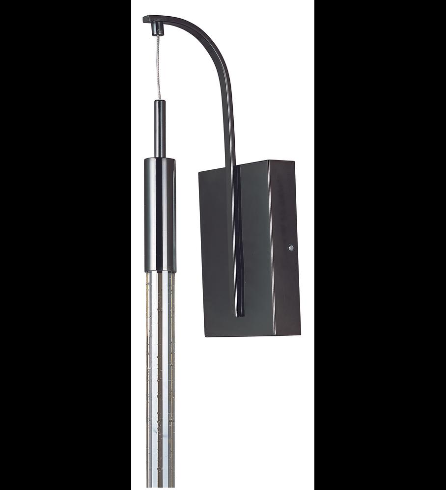 Scepter 1-Light Wall Sconce, Cromo negro cristal claro
