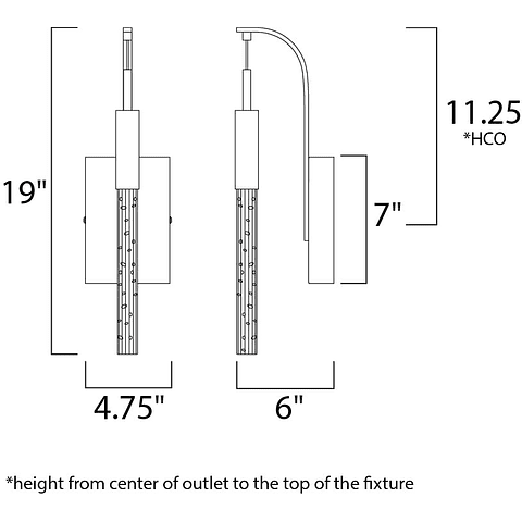 Scepter 1-Luz E32770-91BC Lámpara a muro Cromo negro cristal claro