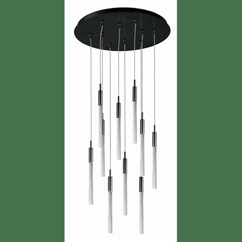 SCEPTER 10-Luces E32778-91BC Colgante Decorativo Cromo negro cristal claro