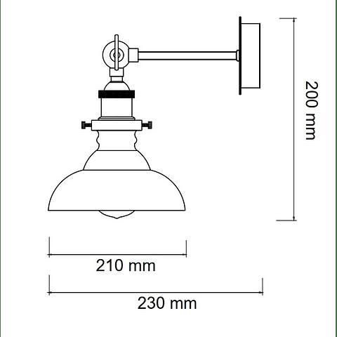 KELCH Q33135-SM LUZ DE PARED CRISTAL HUMO E26