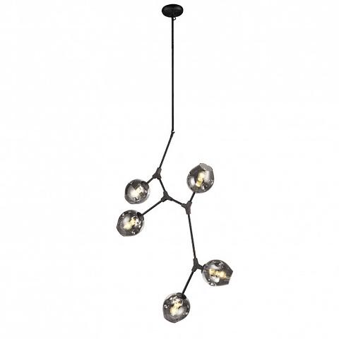 Sakura Pendant 5 light E27 acab. Negro Mate Q16066-BK