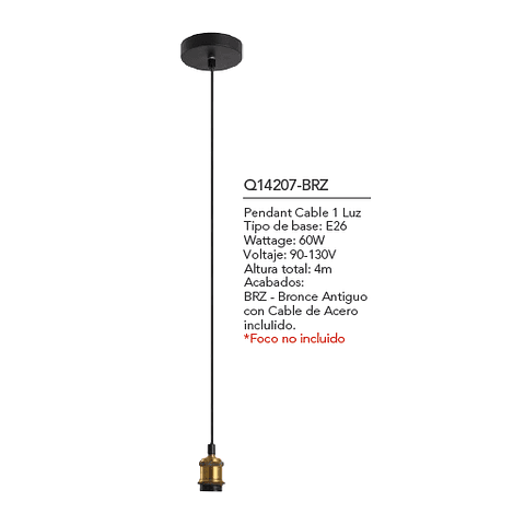 Q14207-BRZ EDISON CABLE VINTAGE 1 LUZ E26 BRONCE