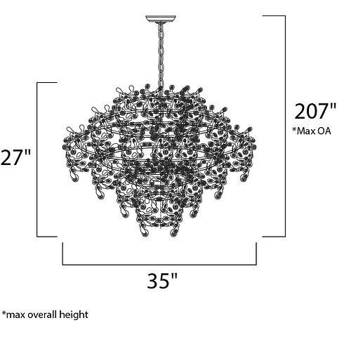 Comet Pendant 24207BCPC 13-Luces Decorativa Acab. Cromo Cristal