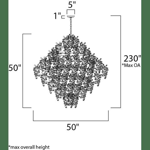 Comet 21-Luces 24209BCPC Colgante Decorativa Acab. Cromo Cristal