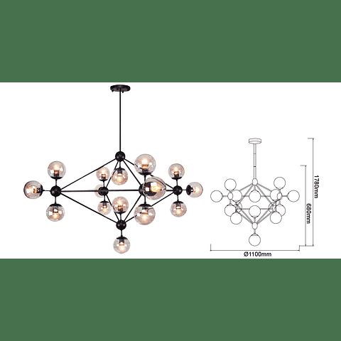 Q16082-BK Lámpara Miró 15 luces E26 Cristal Negro Smoke