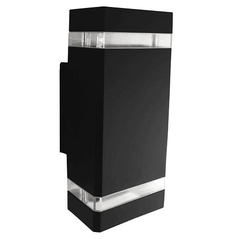 ADE-012 Luminaria Pared Rectangular Doble Aluminio Negro Exterior Base GU10