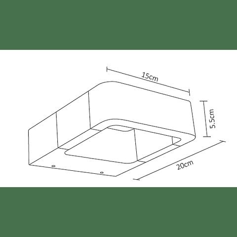 ADE-014 Luminaria LED de Pared Tubular Aluminio Negro Exterior Blanco Frío