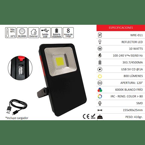 WRE-011 REFLECTOR SLIM LED PORTATIL 10W USB CARGADOR BLANCO FRIO EXT.