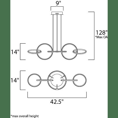 RINGER LED 5-Light E24726-BKPC Pendant 59W 3000K