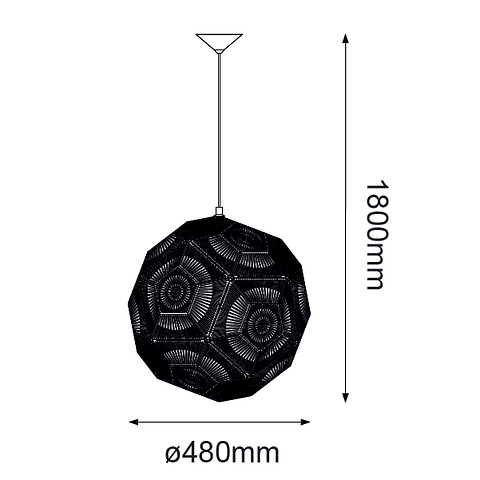 Q48074-GD CORE Pendant 1 luz*E12, acabado Oro Metal
