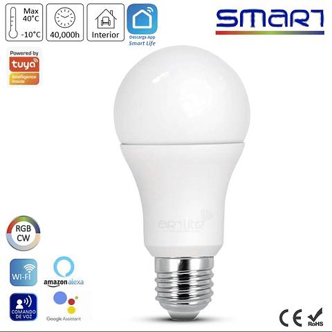 ALA-029 Lampara LED smart WIFI RGB y blancos atenuable E26 Pack 2 pzs