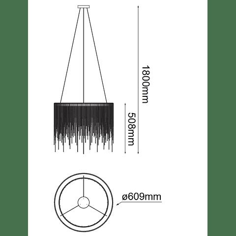 Lámpara Decorativa Adele Q17166-GD Circular cadena planchada Acab. Oro