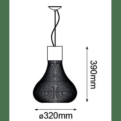 Q47066-BK Andy Pendant Blanco Mate E26 Metal y Cristal