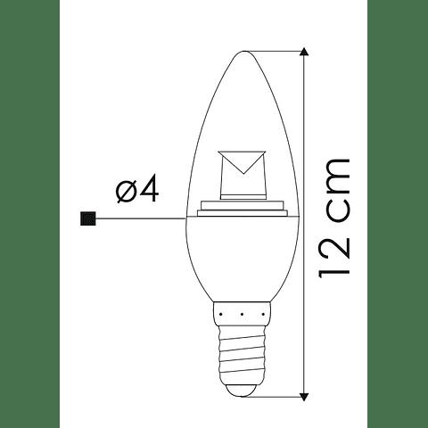 Lámpara LED Tipo Vela 4W Blanco Cálido E26 Atenuable