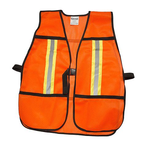 137376 Chaleco seguridad naranja ajustable cinta prismática Pack 5 Pzs. Surtek