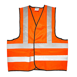 137377 Chaleco seguridad tela naranja con cintas reflejantes Pack 5 Pzs. Surtek
