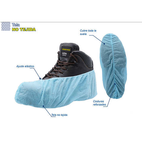 137291 Cubre zapatos desechables color azul Surtek Paq. 100 pzas.